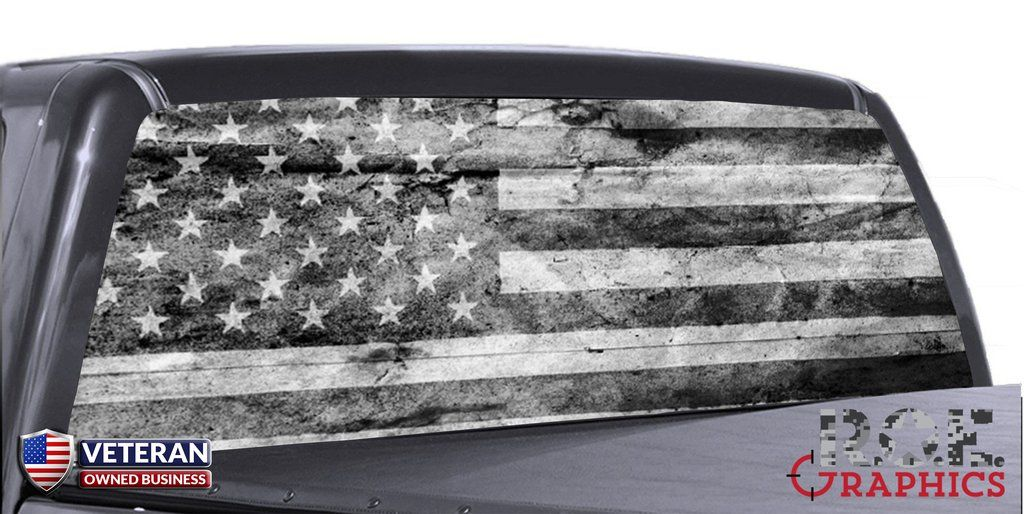 Distressed American Flag B W Universal Truck Rear Window 50 50 Perforated Vinyl Lifted Chevy Trucks Chevy Trucks Chevy Trucks Older