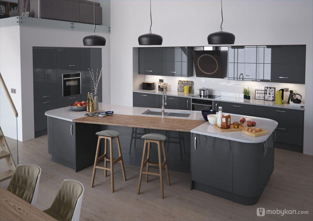 صور مطابخ حديثه و اشكال مطابخ مودرن و مميزه من موبيكان Contemporary Kitchen Kitchens And Bedrooms Gloss Kitchen Cabinets