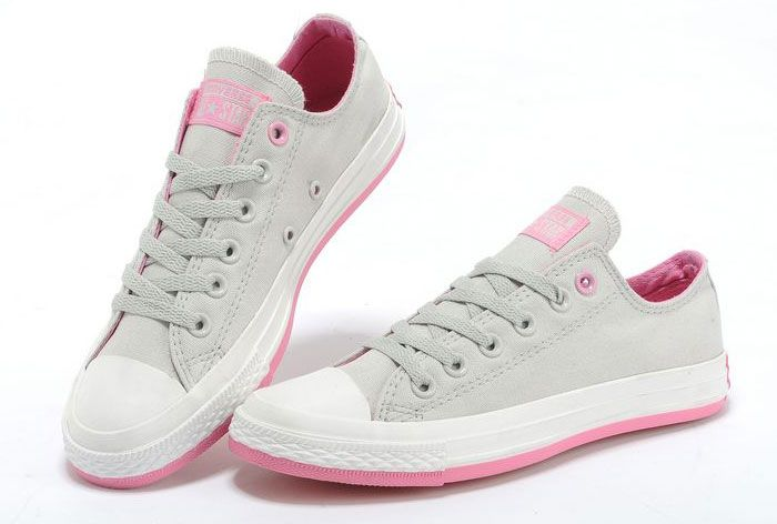 Stylish Converse New Fresh Colors Grey Chuck Taylor All Star Low Tops Canvas  Sneakers Pink Sole  converse  shoes f77a190c9