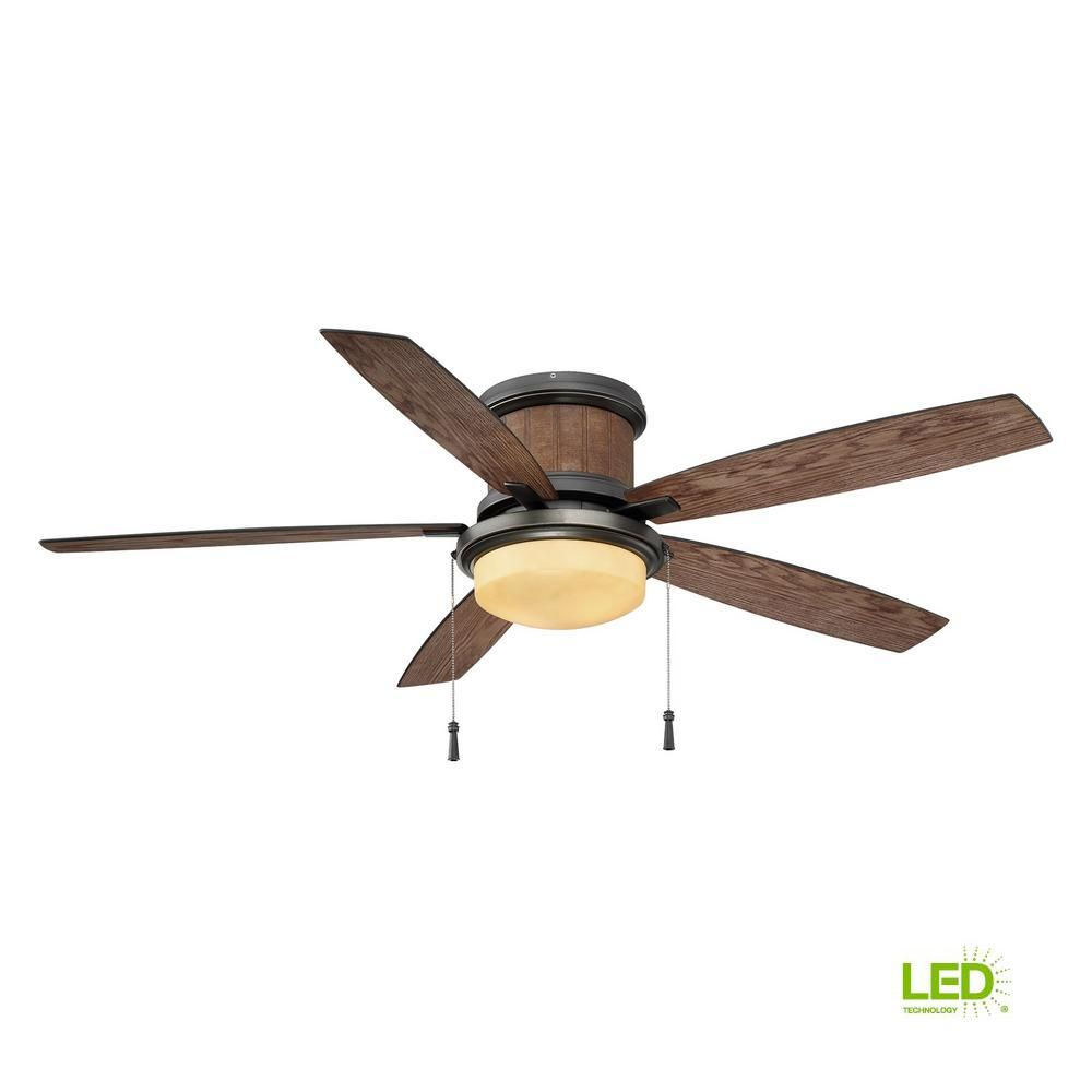 Hampton Bay Roanoke 56 In Led Indoor Outdoor In Natural Iron Ceiling Fan Yg216c Ni The Home Depot Ceiling Fan Hampton Bay Outdoor Light Bulbs