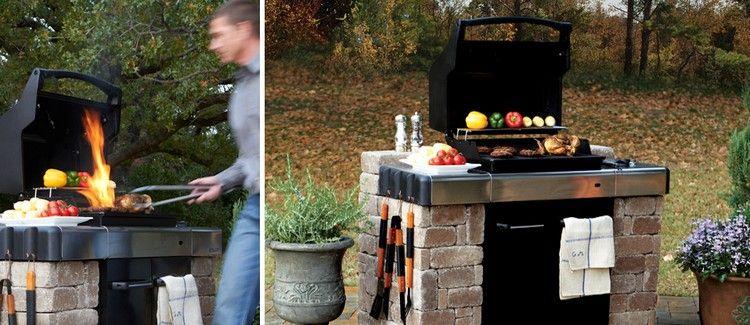 Barbecue En Pierre Naturelle Et Plan En Acier Inox - Idées Diy Pour