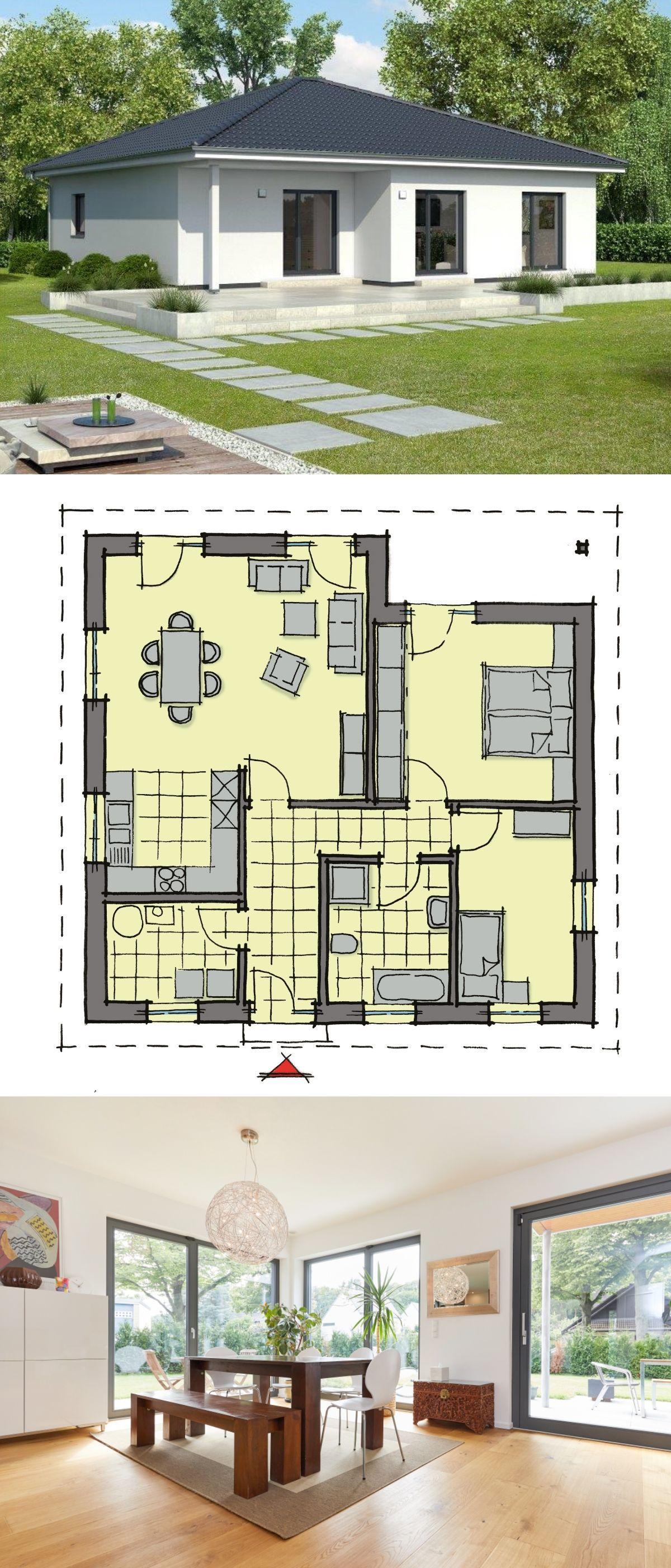 Bungalow Haus Grundriss Ebenerdig Mit Walmdach Architektur U0026 Inneneinrichtung  Modern Offen   Einfamilienhaus Eingeschossig Bauen Ideen Fertighaus  Bungalow ...