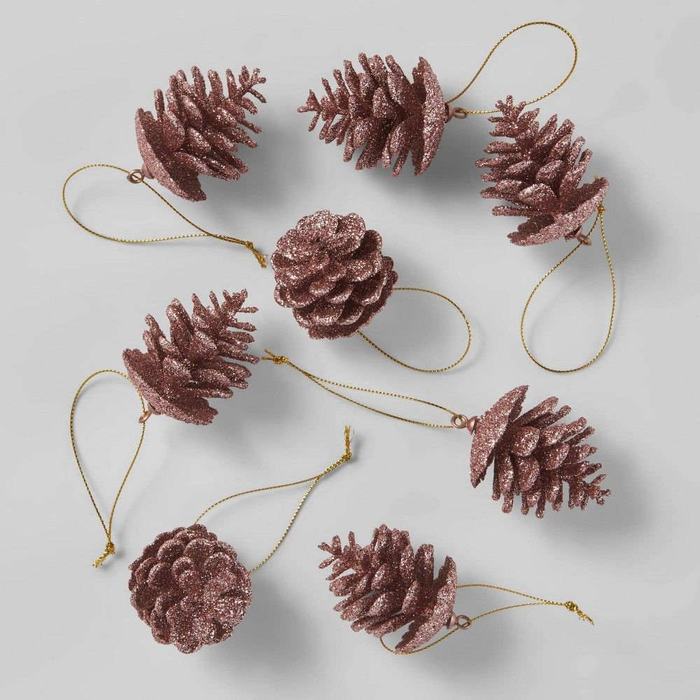 8ct Glitter Pinecone Christmas Ornament Set Blush Wondershop Christmas Ornament Sets Pink Christmas Ornaments Christmas Ornaments
