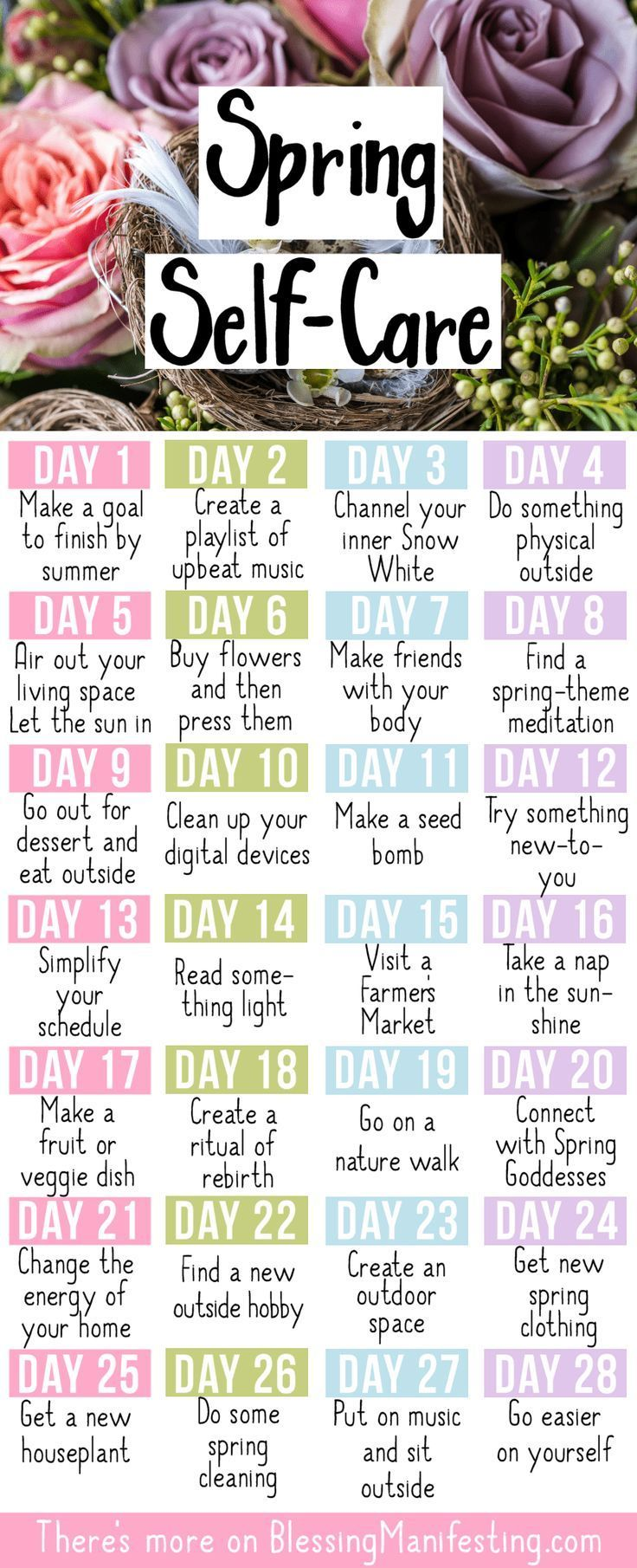 Spring Self-Care Challenge   – Mindful Living: Self Care