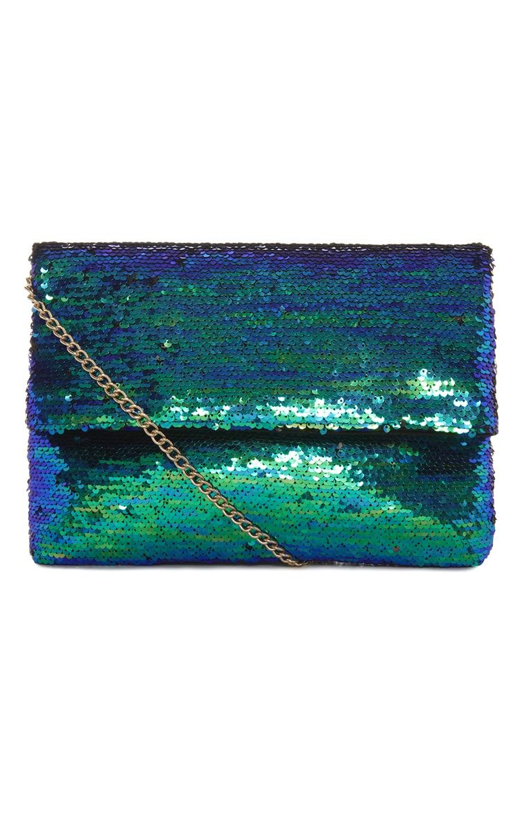 Primark Green And Blue Sequin Clutch Bag