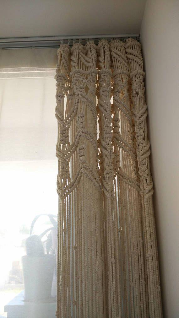 Grand rideau en macramé fait avec une corde en coton Beige/crème ...