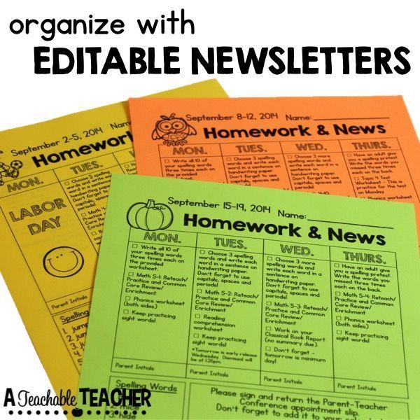 Newsletter Template  Class Newsletter Template Homework