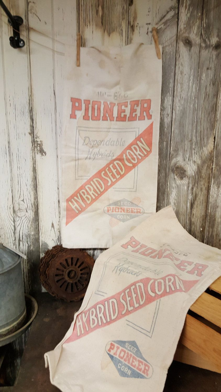 VIntage Pioneer Seed Sack Farm Primives Seed Sack by birchleaves on Etsy