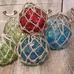Boule de pêcheur décorative en verre avec filet en corde Chehoma