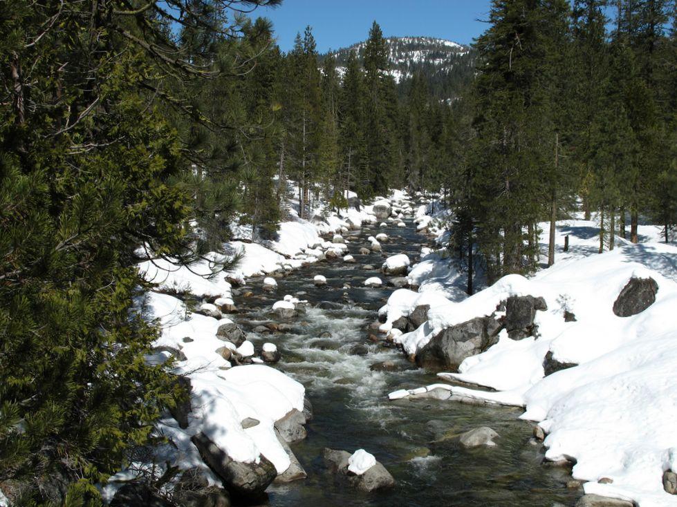 California - Fresno County - Dinkey Creek in the snow.