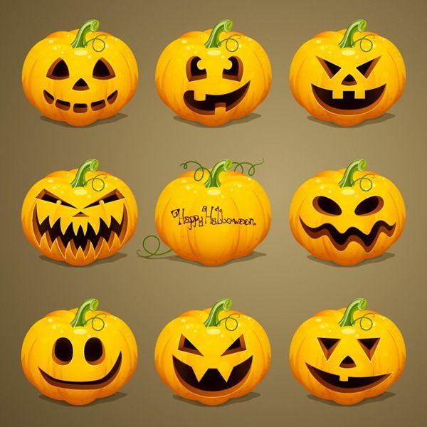 Cartoon Pumpkin Head Design Vector Graphics Scary Halloween