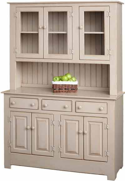 China Cabinet With Gl Doors Painted In Primitive Farmhouse Cherry