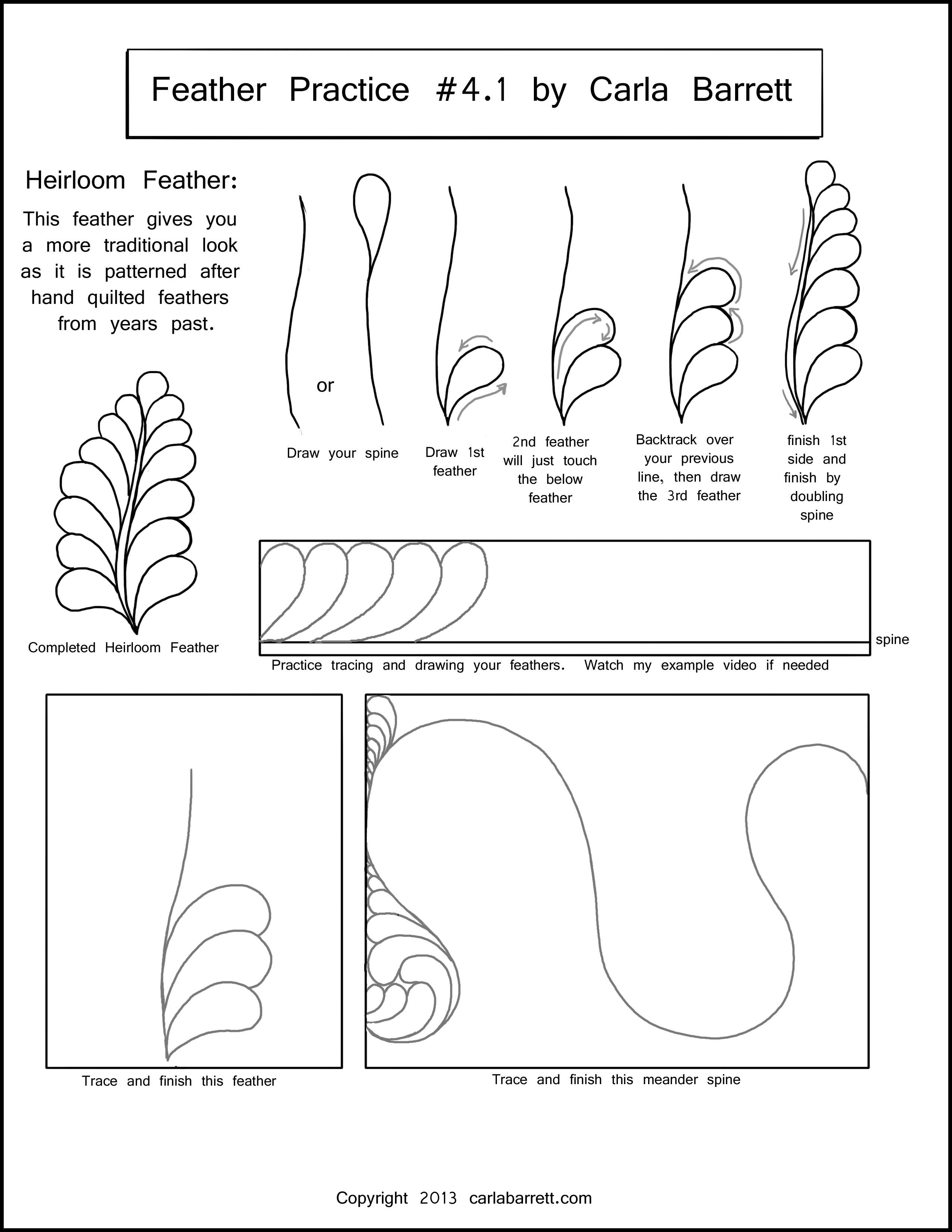 Feather Worksheet 1 Quilting