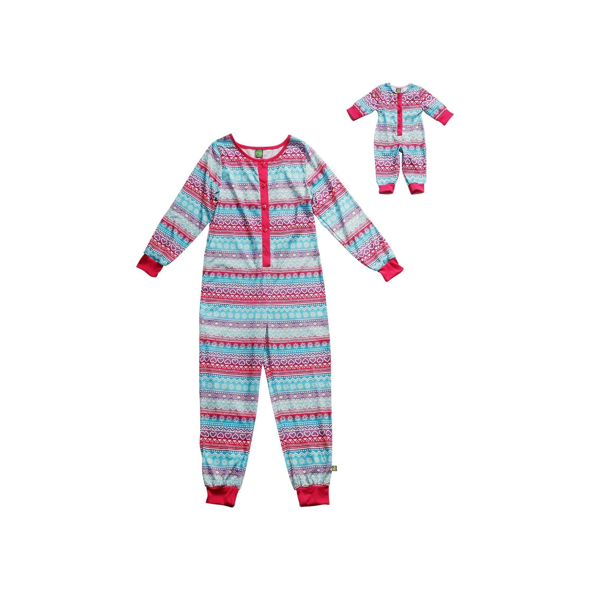93b4c2e9c Girls 4-14 Dollie   Me Fairisle One-Piece Pajama Set