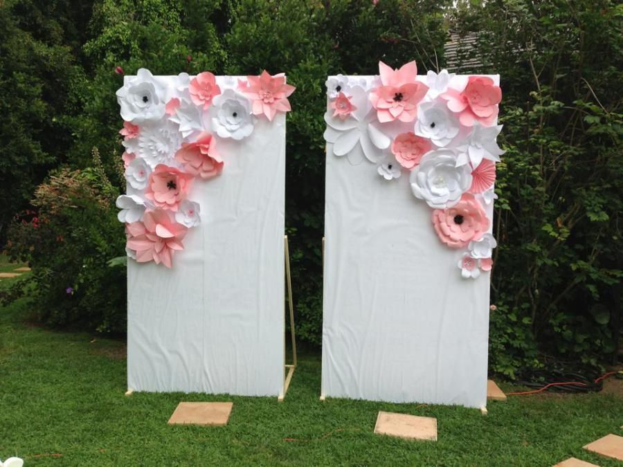 Pink And White Paper Flower Wall Panel For Photo Op Paper Flower Wall Paper Flower Decor Paper Flowers