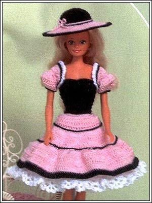 Barbie Crochet: Black  Pink Summer Dress, pattern