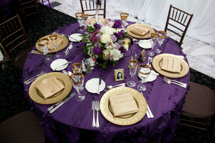 Purple and gold event table | party | Pinterest | Table settings ...