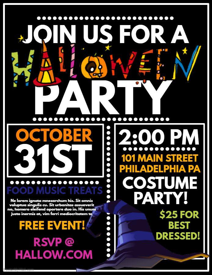 Fun Halloween party flyer social media post template