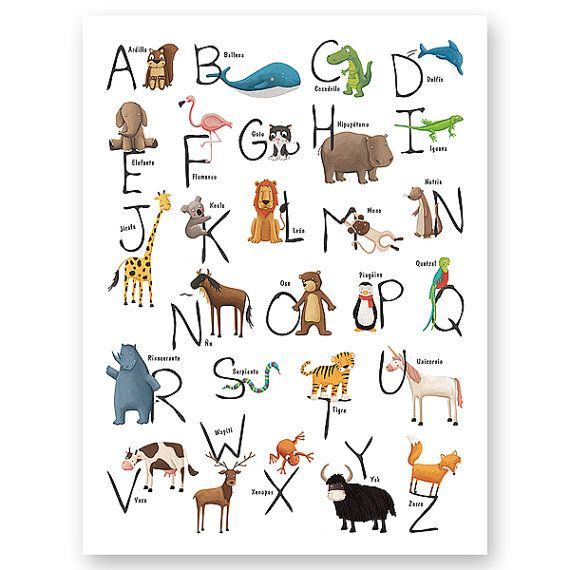 Spanish Animal Alphabet Print Animal Alphabet Spanish Animals Spanish Alphabet