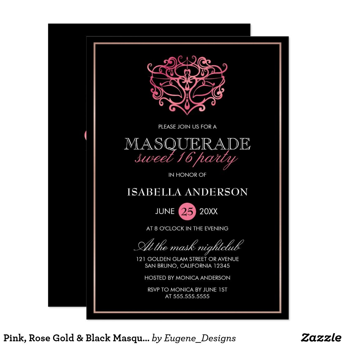 Pink, Rose Gold & Black Masquerade Sweet 16 Party Invitation ...