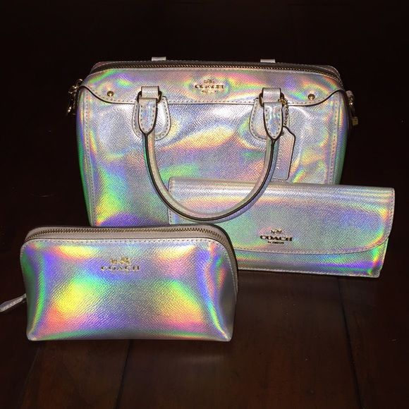 Coach Hologram Set Silver Purse Wallet Makeup Pouch Only Available