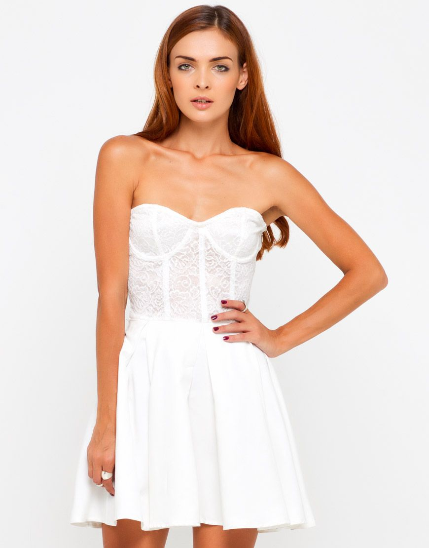Super flirty white lace and suede strapless dress with pretty gathered skirt - perfect for any occasion this season! This prom style dress has a sweetheart neckline with pretty white lace bustier top featuring beautiful corset boning and underwired structured cups. #MotelWinning