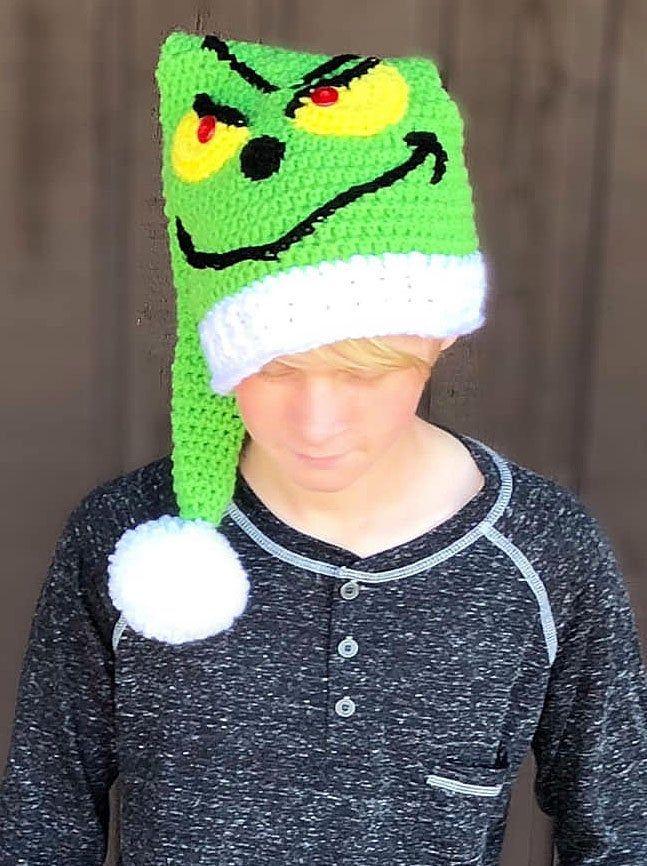 CROCHET PATTERN - Christmas Hat - Holiday - Elf Hat - Ava Girl Patterns by AvaGirlPatterns on Etsy #crochetpatterns #avagirldesigns #avagirlpatterns #grinchhat #christmashat #elfhat