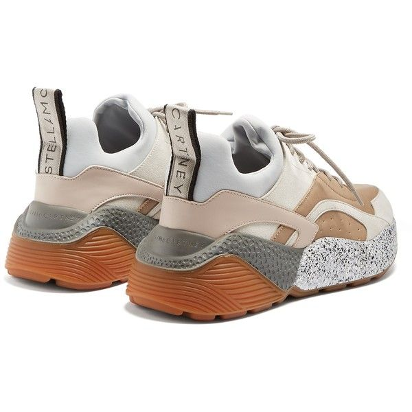 8c9443af087d Stella McCartney Eclipse chunky-sole faux-leather trainers ( 595) ❤ liked  on Polyvore featuring shoes