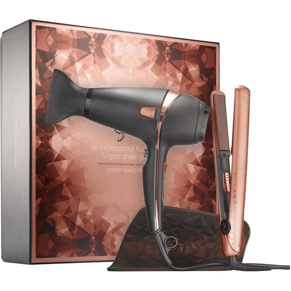 ghd Copper Luxe Dry Style Deluxe Gift Set (1.065 BRL) ❤ liked on Polyvore featuring beauty products, gift sets & kits, hair blow dryer, blow dryer, hair straightening blow dryer, flat iron blow dryer and ghd