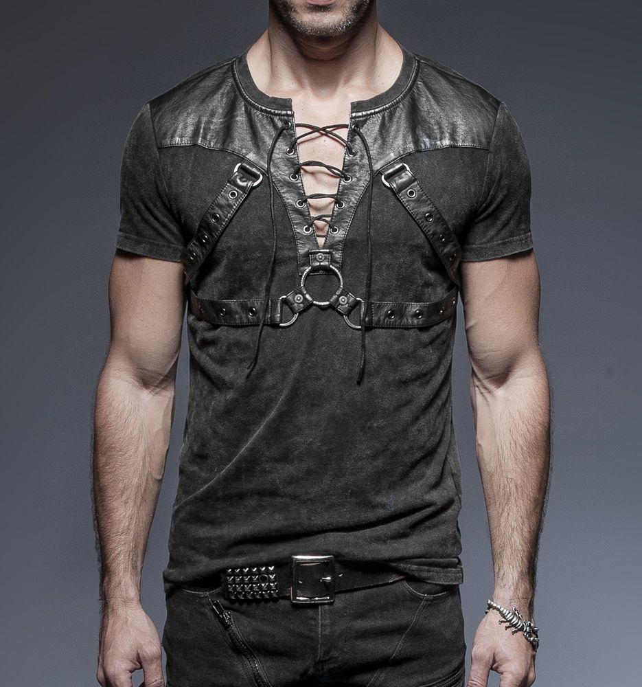 a3b6bb3df5dfa Punk Rave Hombre Gotico Goth Rock Metal T-Shirt Top Steampunk ropa informal  T42