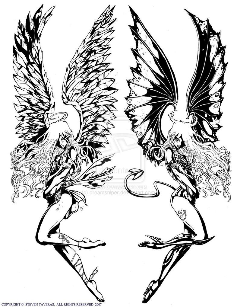 Angel And Demon Tattoo Drawings Sketch Coloring Page Demon Tattoo Angel Demon Tattoo Lower Back Tattoos
