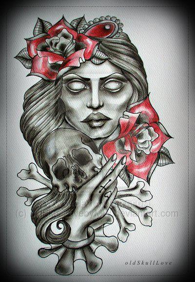Pin-up with tattoos by jordanashworth on DeviantArt