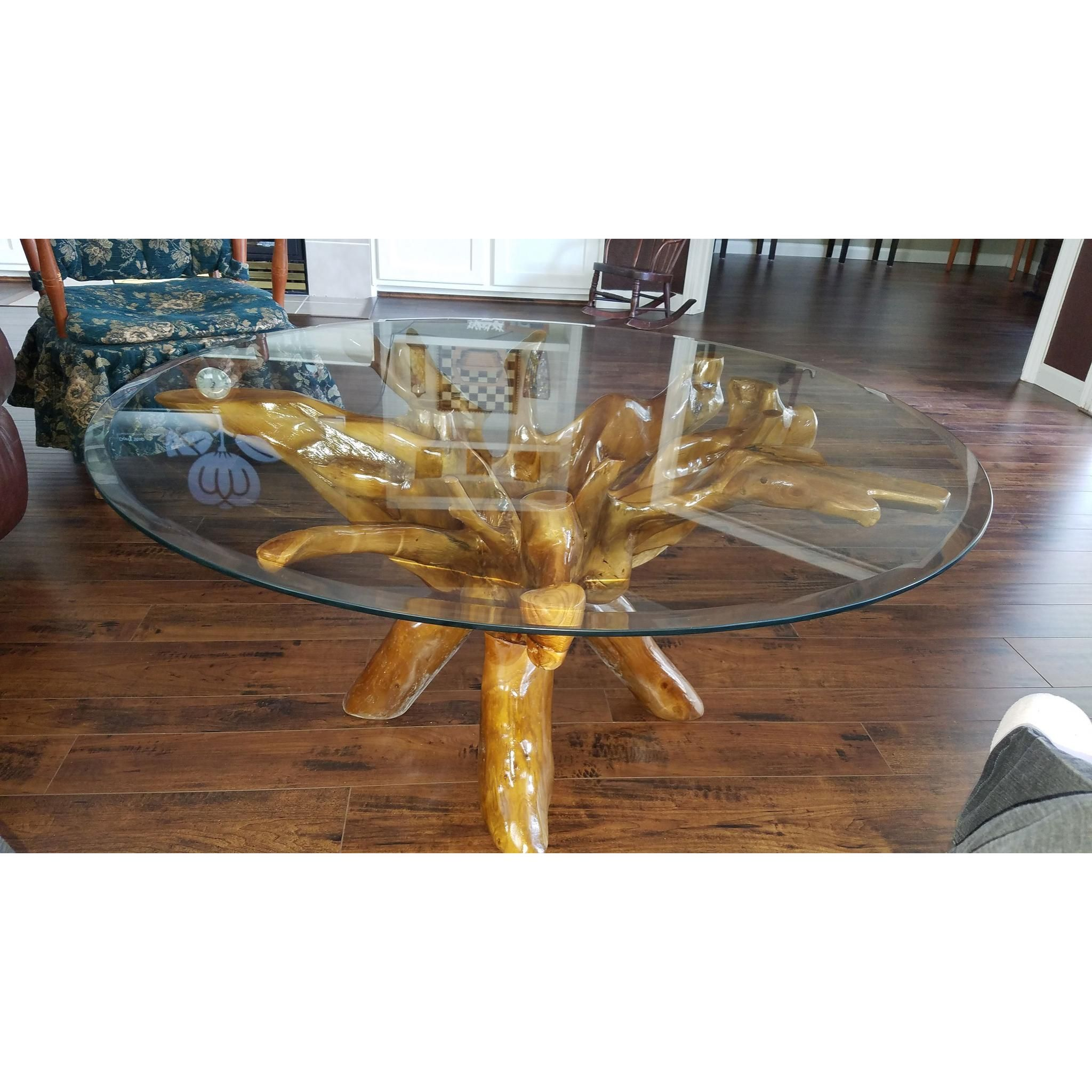 Teak Wood Root Coffee Table Including 43 Inch Round Glass ...