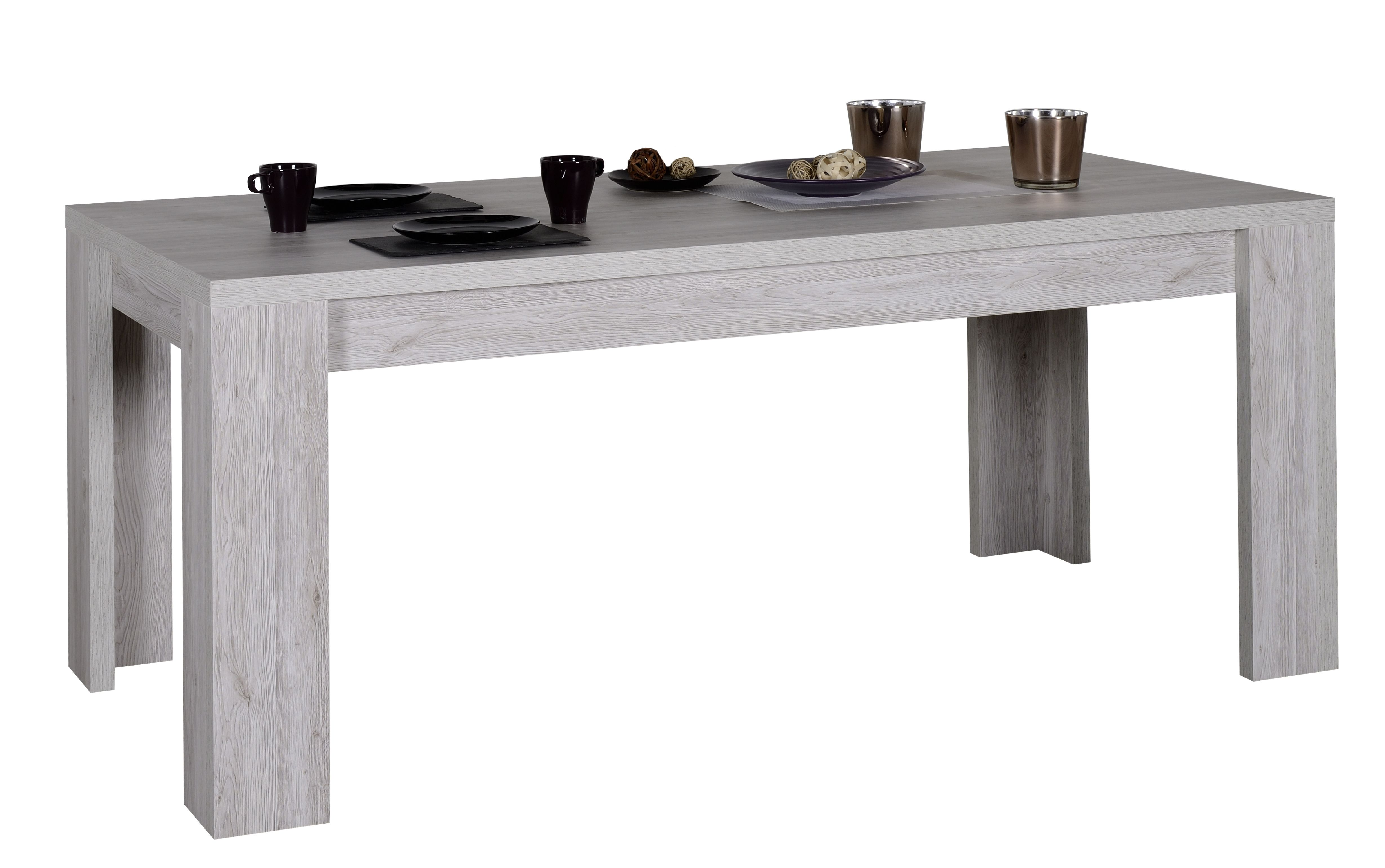 Table Rectangulaire Extensible Bois De Chene Gris Maeva Lestendances Fr Mobilier De Salon Bois De Chene Decoration Maison