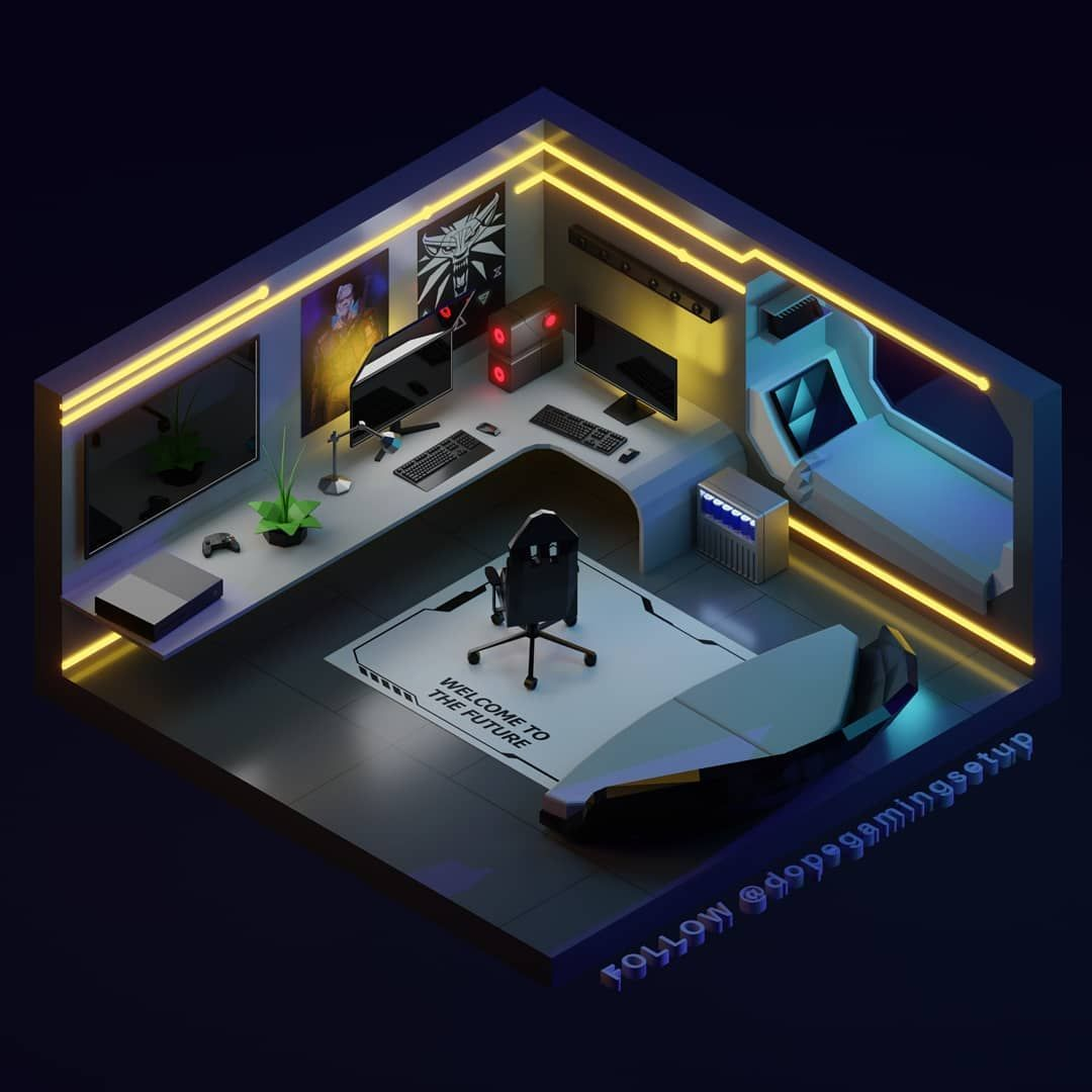 Gaming Setups 3d Models On Instagram Our Client Keef E7 Is Cyberpunk Fan He Wanted A Space Video Game Rooms Small Game Rooms Video Game Room Design