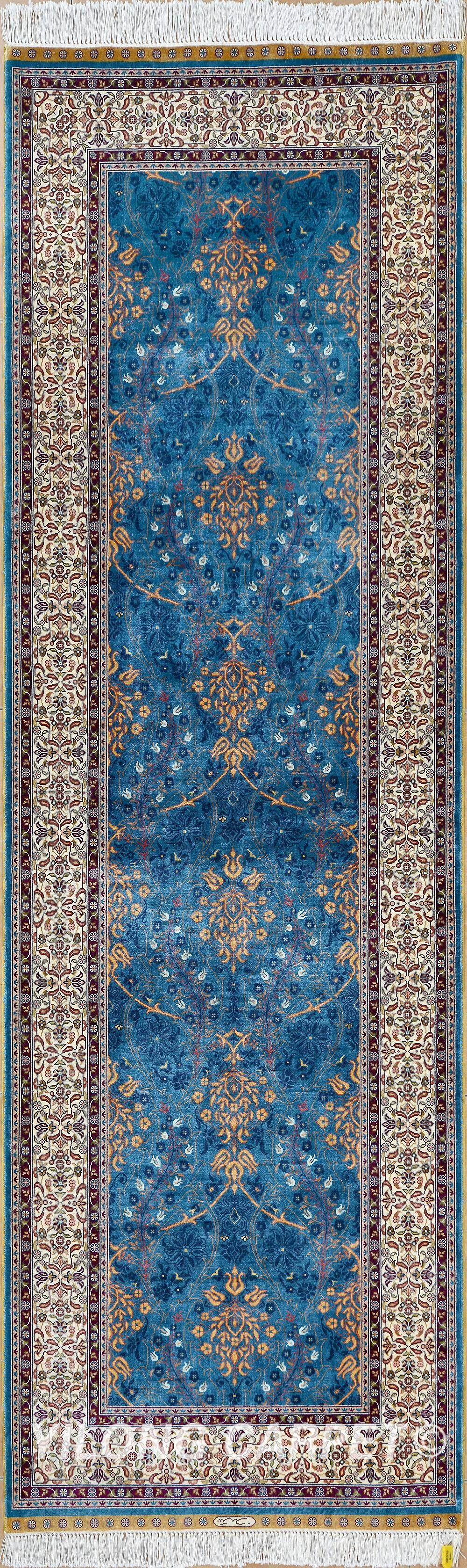Blue Rug Runner Persian Oriental Turkish Carpet Hand Knotted Silk Tabriz Rugs Hereke Area