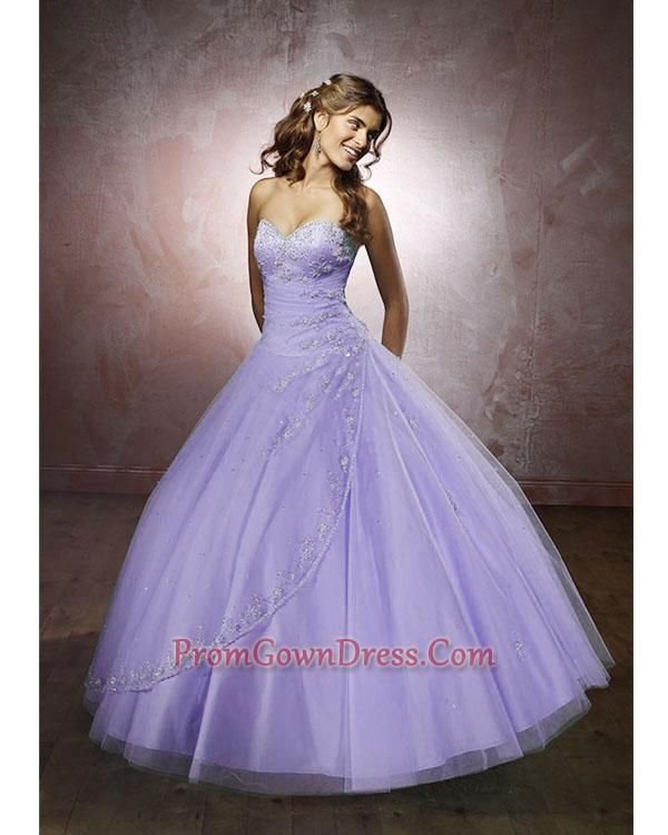 Lilac Ball Gown With Silver Accents.