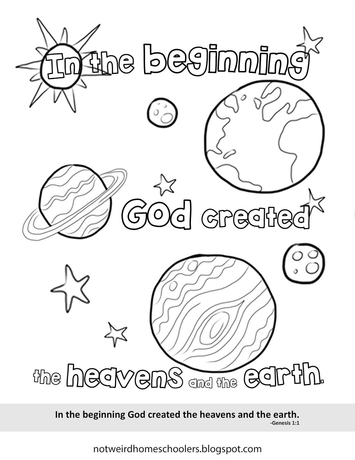 Free Homeschooling Resource Genesis 1 1 Coloring Page Bible Worksheets Bible Coloring Pages Sunday School Coloring Pages