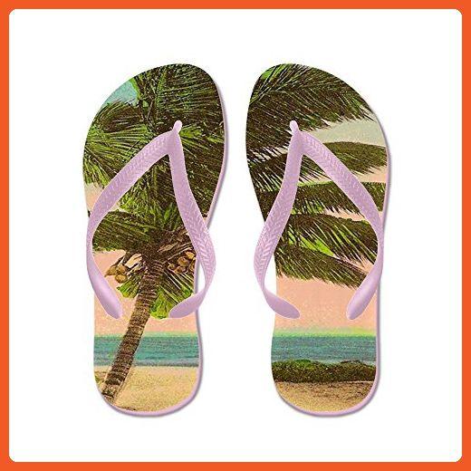 af03fd5e843ea CafePress - Vintage Sanibel Palm Tree Postcard - Flip Flops