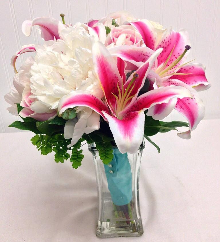 Bridal Bouquet of Stargazer lilies, and white peonies ...