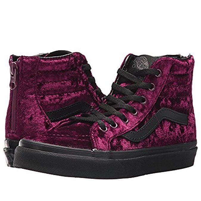 dacc97b304d3bb Vans Sk8-Hi Zip (Velvet) Fashion Sneakers Red Black Size 2 Little ...