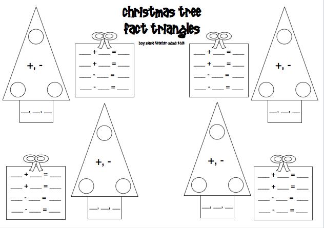 Teacher Mama: Christmas Tree Fact Triangles (Fact Families