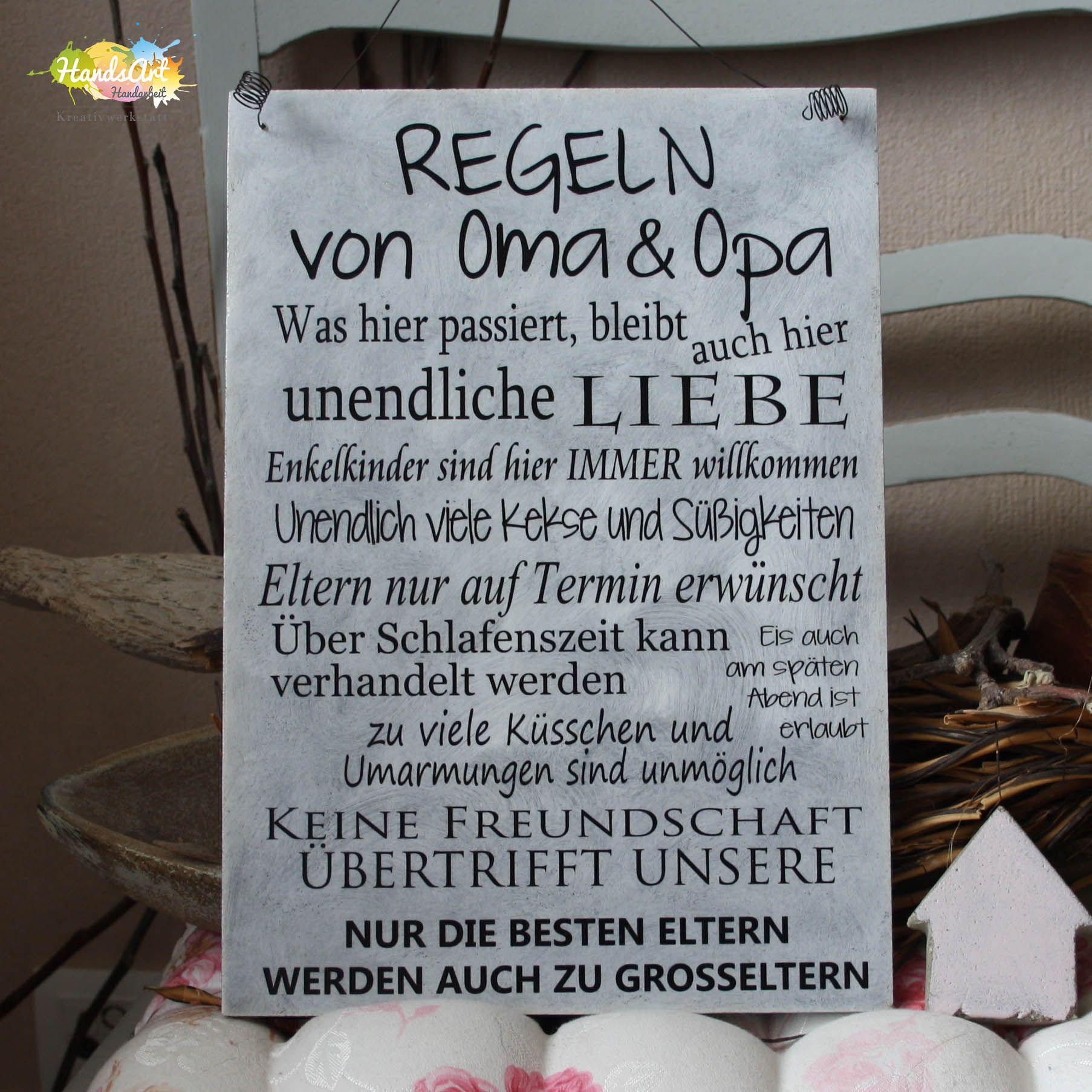 Regeln von Oma & Opa | Basteln oma, Sprüche für oma