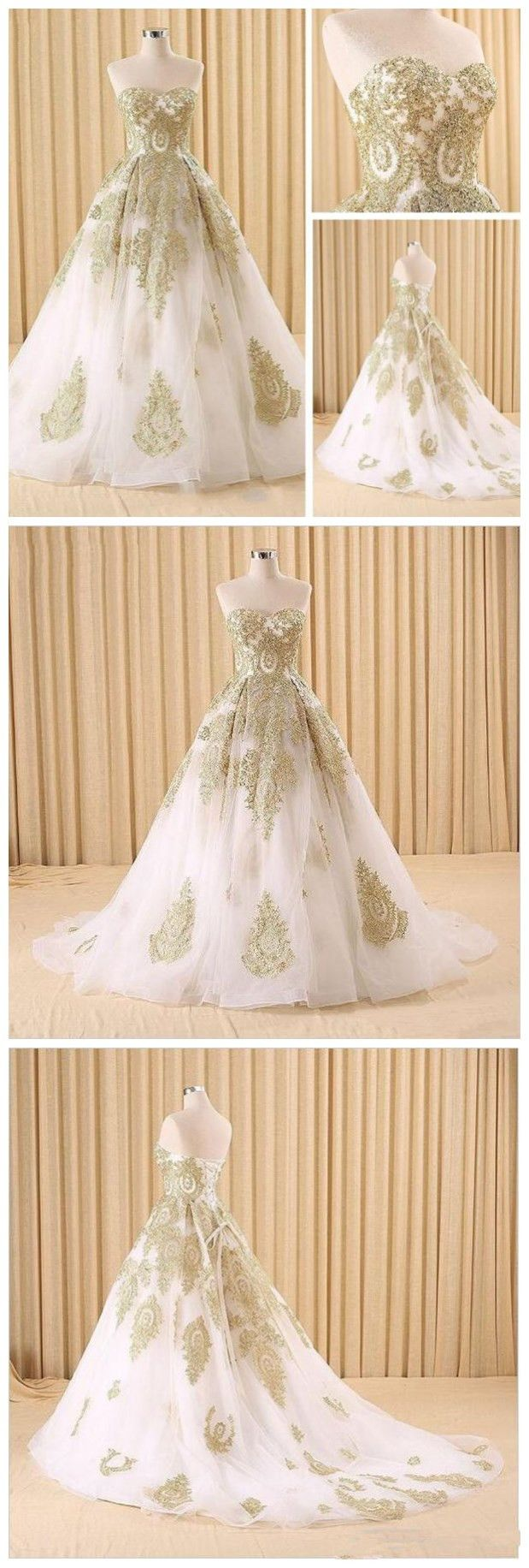 Elegant white and gold lace prom dressesball gown evening dressesa