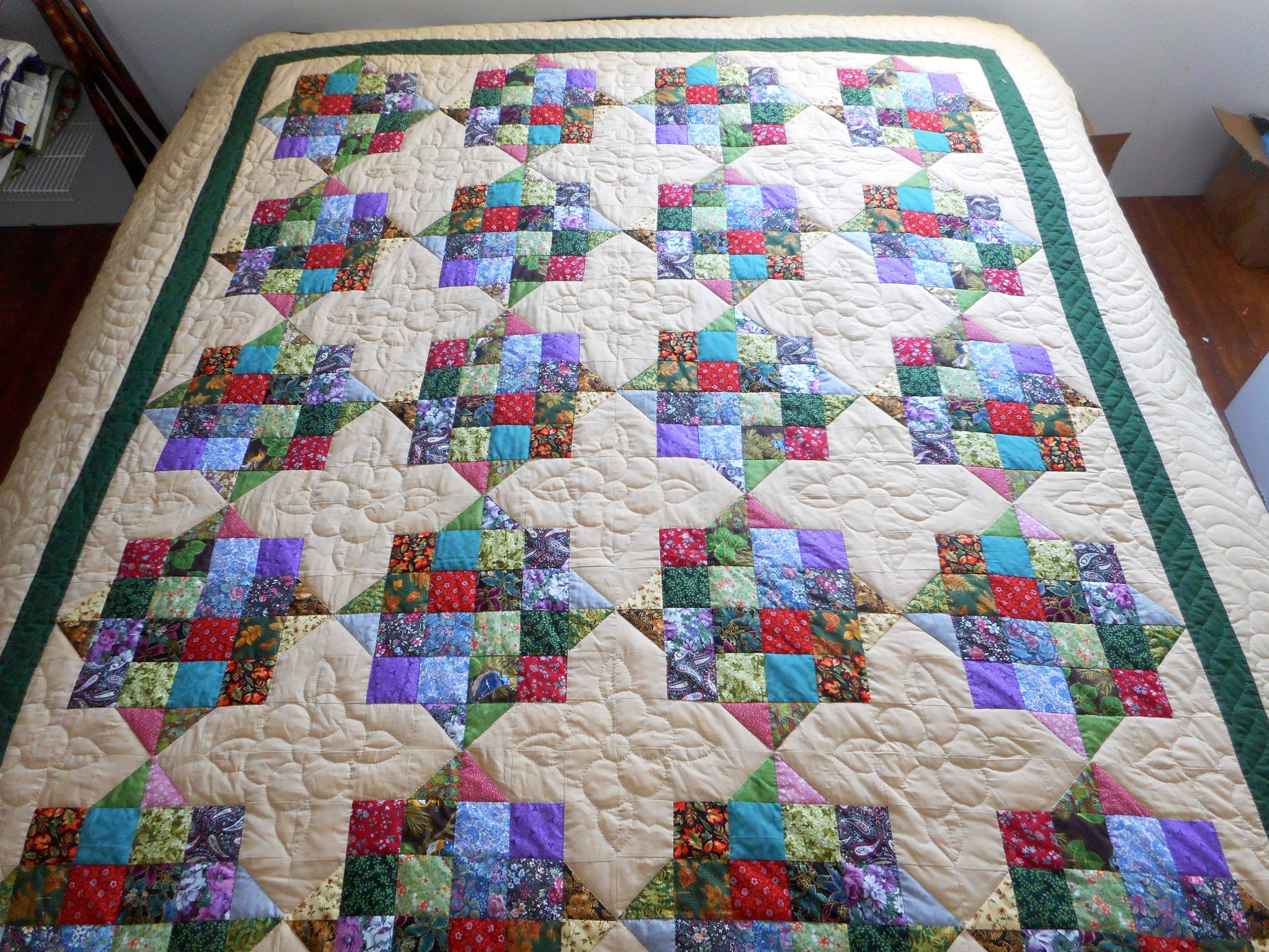 Amish Patchwork Quilt 16 patch squares Handmade quilts