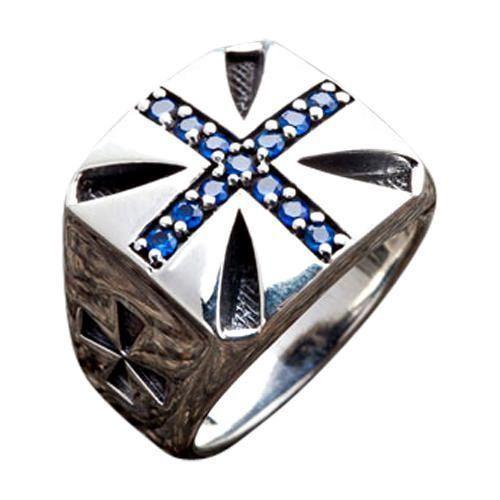 Blue Sapphire Cross Biker Rings in 2019 | Cross Rings | Sterling