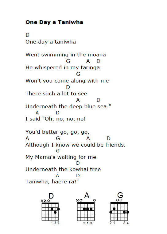 One Day A Taniwha With Guitar Chords Maori Words Maori Songs Guitar Chords For Songs