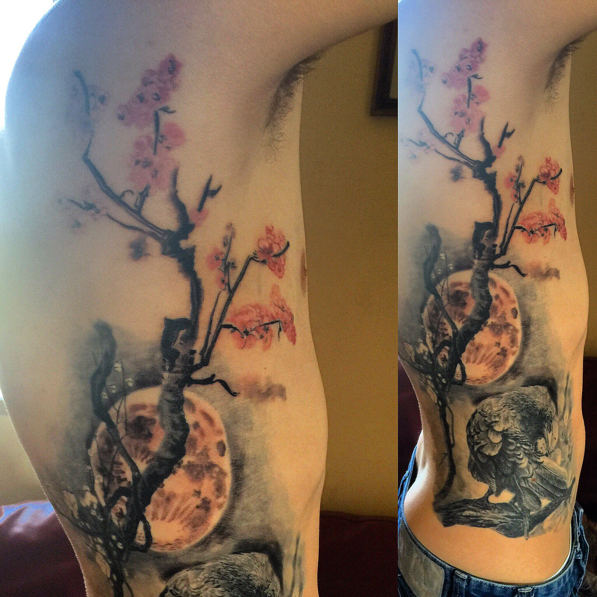 Got The Cherry Blossom Tree And The Full Moon Finished Off On My Side Piece Crow Tattoo Cherrybloss Floral Tattoo Design Tattoo Designs Blossom Tree Tattoo