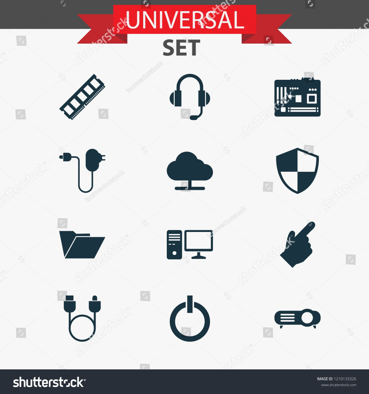 Device icons set with cursor, adapter, shield and other
