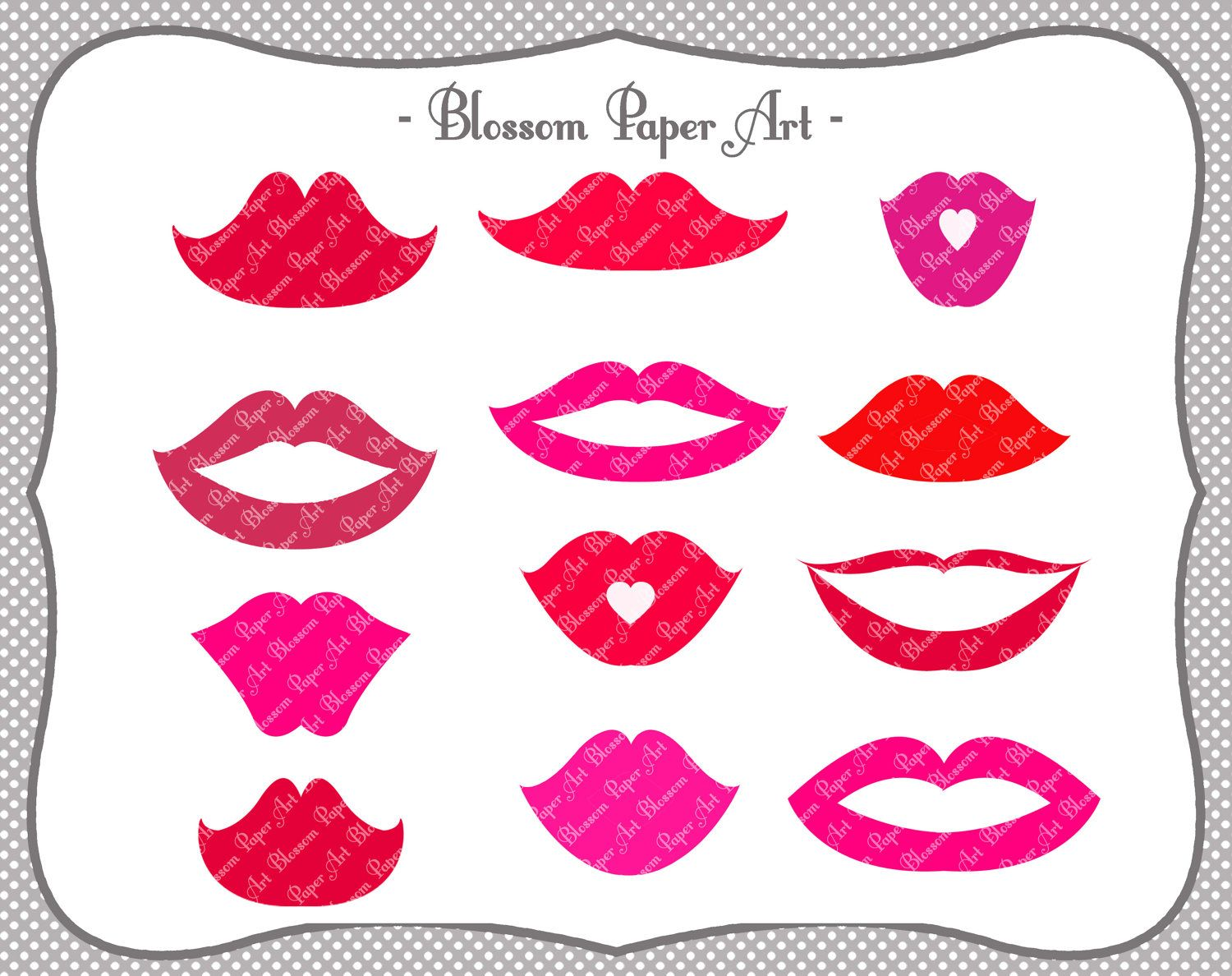 Lips - Digital Clipart - Printable - DIY Photo Booth Printables ...